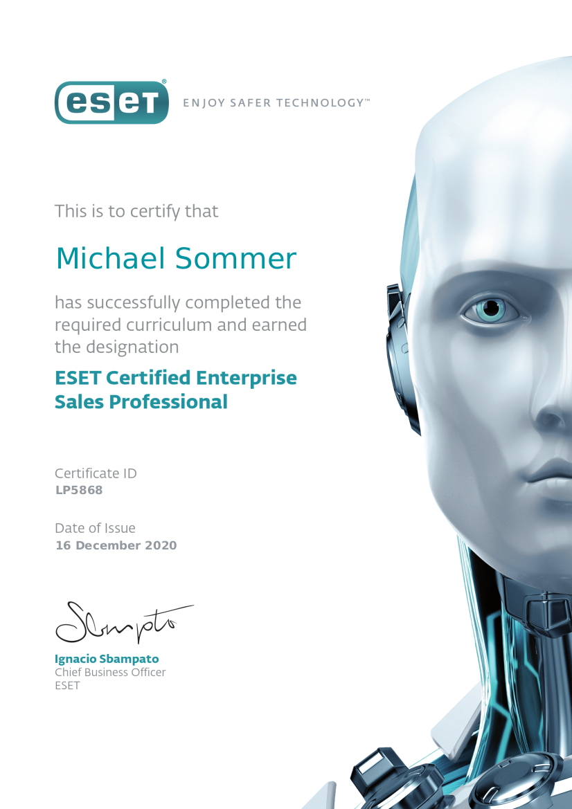 ESET Certified Enterprise Sales Professional