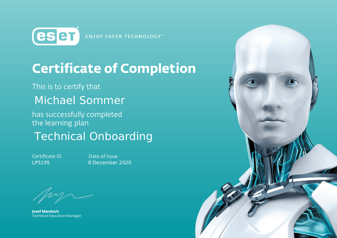 ESET Certificate of Completion - Technical Onboarding