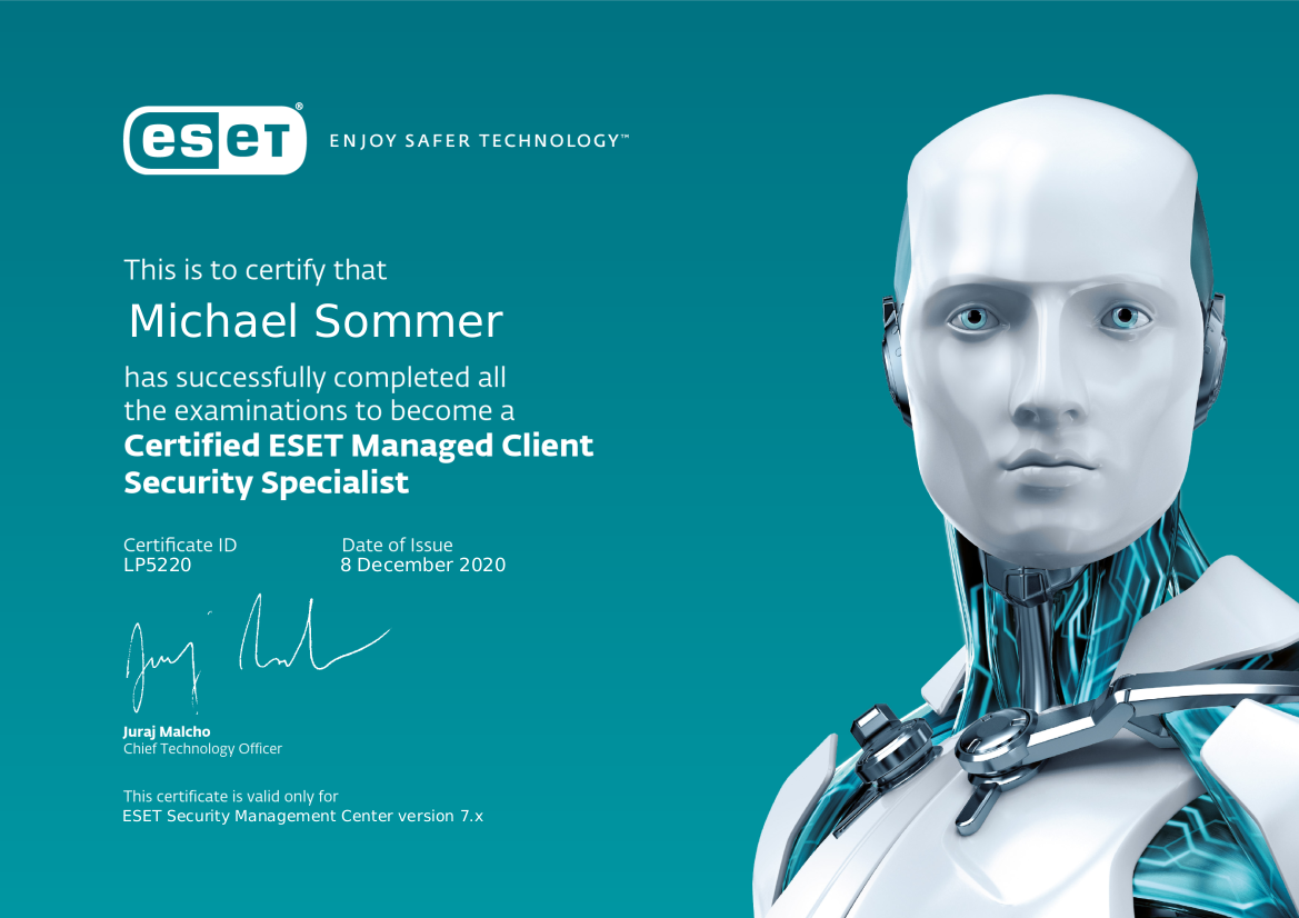 Certified ESET Managed Client Security Specialist
